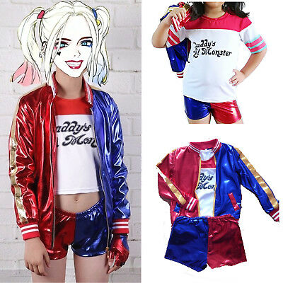Kids Girls Suicide Squad Harley Quinn Fancy Dress Cosplay Costume Outfit T-shirt