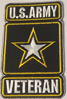 "US ARMY  STAR VETERAN PATCH  Iron / Sew-on Patch  4"" X 2.5"" approx"
