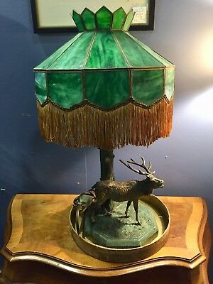 Unusual Antique Green Slag Glass Lamp with Cold Painted Metal STAG