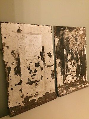 2 Vintage Antique Decorative Cast Iron Panels Garden Retail Prop Painted Patina