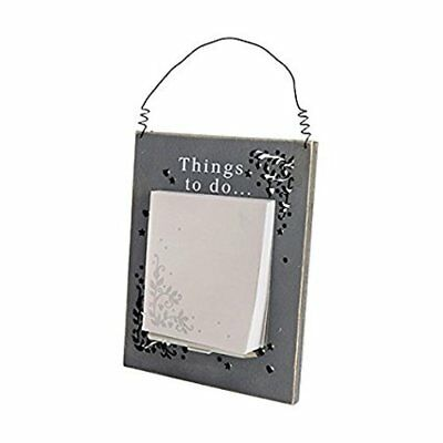 Things To do Grey Hanging Wooden Memo Holder Pencil Notes Messages Kitchen