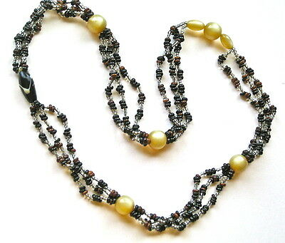Vintage African Beaded Necklace With Venetian Milky Glass Beads, From Nigeria