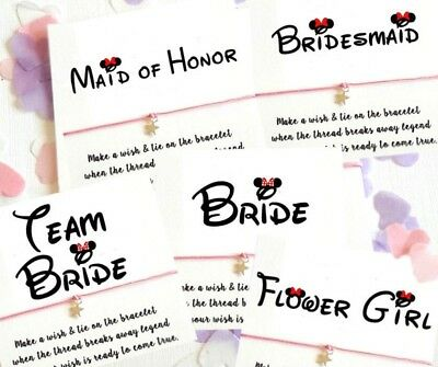 Wish String Bracelet Bride Flower Disney Font Wedding Favors card Hen Party