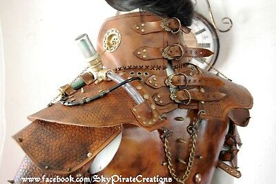Steampunk post apocalyptic mens musculata armour pauldron armor gorget