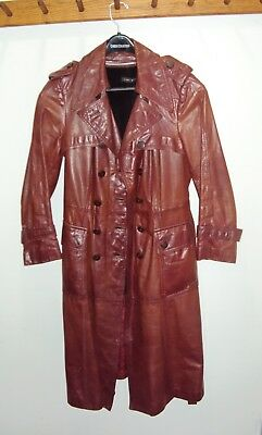 VINTAGE 70's GENUINE LEATHER COAT WOMAN'S TRENCH FULL LENGTH SZ 12 PRIORITY MAIL