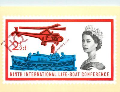 Picture Postcard; 9th International Life Boat Conference 1 1/2D Stamp