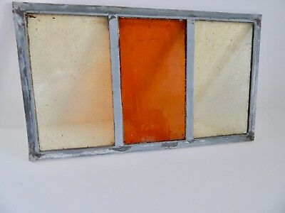 """Vintage Stained Glass Window Panel From Old Church  8 3/8""""  x 14 3/8 """"    3 of 8"""