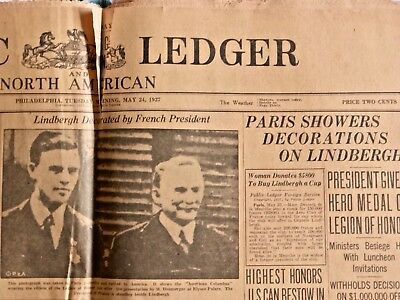 PUBLIC LEDGER & NORTH AMERICAN - COLLECTIBLE FULL NEWSPAPER - May 24, 1927 - PA