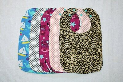 New Lot of 5 Pieces Different Colors Of Handmade Toddler's Waterproof Bibs