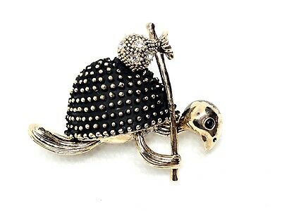 """turtle Brooch pin clear rhinestones gold tone1.5""""x1.25""""   GIFT mothers day #5"""