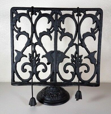 Vintage Wrought Iron Cast Iron Cookbook Book Music Stand Holder