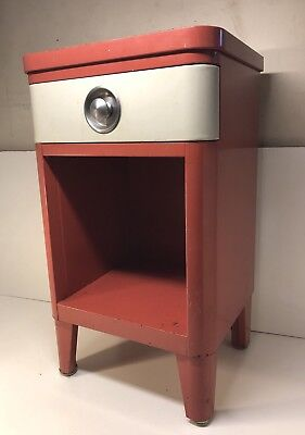 Vintage Art Deco Simmons Furniture Metal Night Stand Kitchen Repurpose Pink