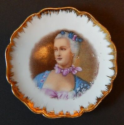 Antique Limoges Small Plate Portrait of a Lady Gold Trim