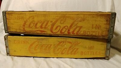 Two Vintage Yellow Coca-Cola Wooden Soda Crates Carriers