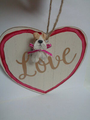 "HAND SCULPTED ART Wire Fox Terrier ""LOVE"" Wood HEART Valentine's Day Decoration"