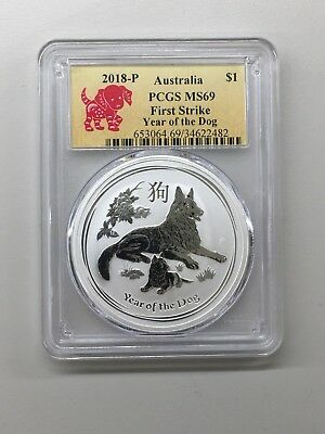 2018 $1 P Australian Silver Year of the Dog 1oz PCGS MS69 First Strike