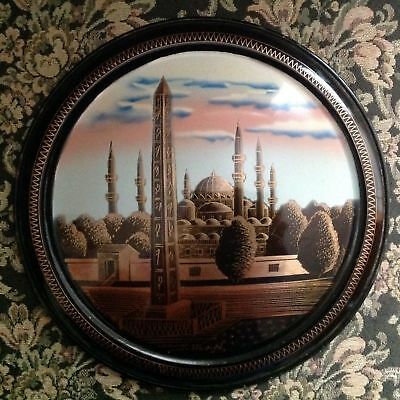 RARE Antique Hand Painted 1940s Islamic Art Wall Decor Copper Plate Blue Mosque