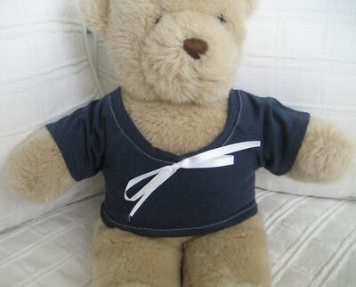 Teddy Bear Clothes, Handmade Navy Blue Jersey T-Shirt with White Ribbon Trim