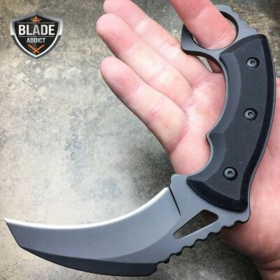 "7"" Heavy Duty Full Tang Tactical Hawkbill Karambit Fixed Blade Hunting Knife New"