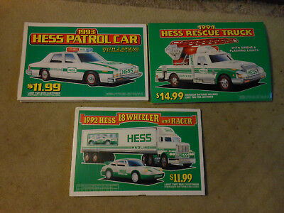 Lot of 3 Hess Signs 18x12 /1993 Patrol Car /1994 Rescue Truck /1992 18 Wheeler