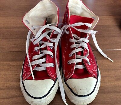 Vintage Red Chuck Taylor's Converse High Tops, Made in USA, Size 2 1/2