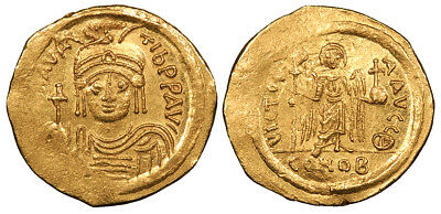 BYZANTINE Maurice Tiberius AV Solidus 582-602 A.D. Mint State VICTORIA AVGG (the