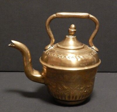Antique Middle East Solid Brass Ornate Tea Kettle or Coffee Pot Arabic Mark
