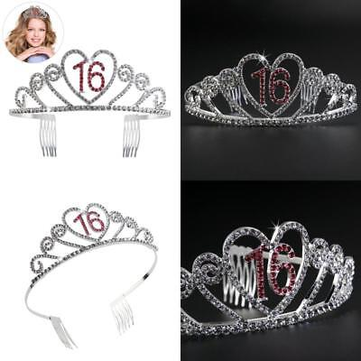 Birthday Party Rhinestone Crystal Tiara Crown For Sweet 16 Birthday Tiara