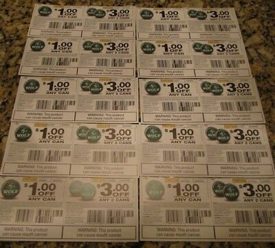 $1 & $3 OFF TIMBER WOLF Tobacco/Cigarettes Coupons $124.00