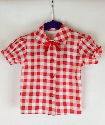 VINTAGE RED GINGHAM Handmade Baby Shirt w/Red Bow and Red Buttons