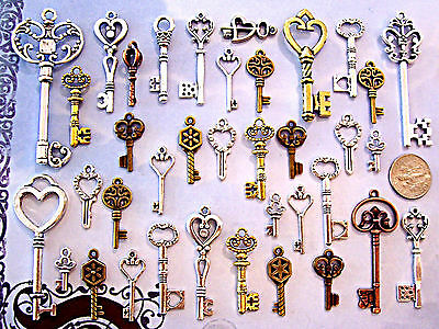 64 Vintage Look Old Art Skeleton Keys Bulk Lot Wedding Heart Lock Steampunk E20F