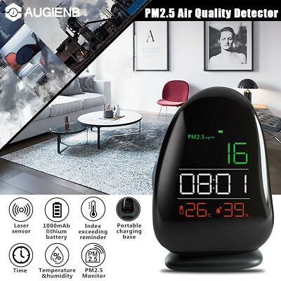 AUGIENB PM2.5 Detector Air Quality Monitor Clock Temperature Humidity w/ Holder