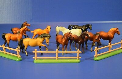 Vintage Breyer Molding Co. 1975 1976 Miniature Horse Lot of 10 Horses + Fence