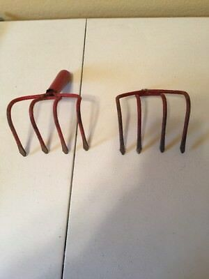Lot of 2 Red Vintage Hoe Rack Heads 4 tines