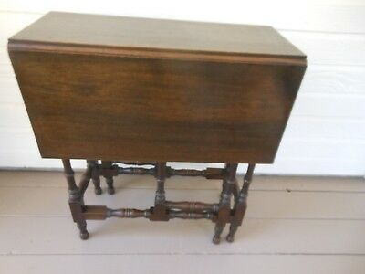 Petite Solid Mahogany Double Drop Leaf Gate Leg Tea Side Table From England