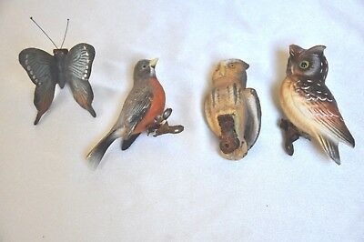 4 Vintage Bisque Clip-ons, 2 Owls, Butterfly, Bird