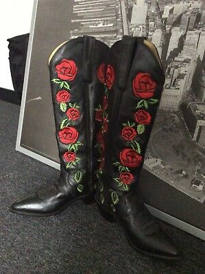 Vintage Dan Post Embroidered Red Rose Womens High Black Cowboy Boots Size 7.5M