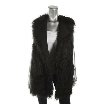 Theory 2324 Womens Cody Black Fur Open Front Long Casual Vest XS P BHFO