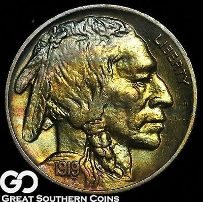 1919 Buffalo Nickel, Great Color, Great Strike, Superb Gem BU++, Tough This PQ!