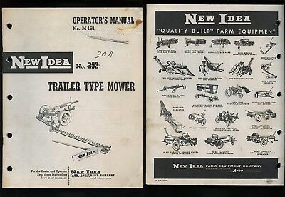 New Idea No. 252 30A Trailer Type Mower Operator Manual #M-151 1958
