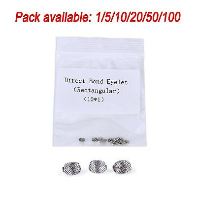 Dental Orthodontic Lingual Button Direct Bond Eyelet Rectangular Mesh Base