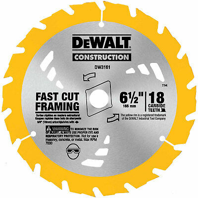 "DeWalt DW3161 Series 20 6-1/2"" 18T Carbide Thin Kerf Circular Saw Blade"