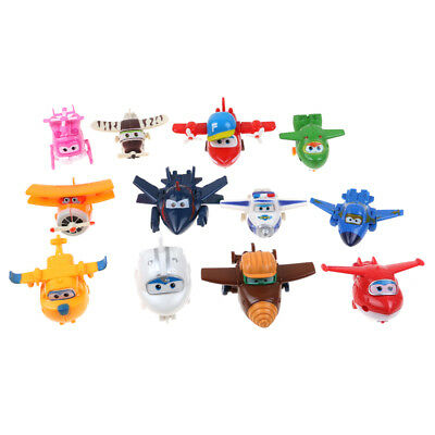4/8/12Pcs Animation Super Wings Transformable Airplane Robot Action Figures Toy