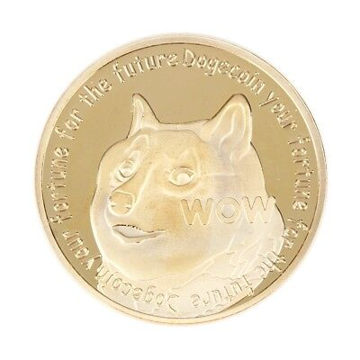 Dogecoin Dog Commemorative Coin Gold Plated Coin Your Fortune For The Future K6
