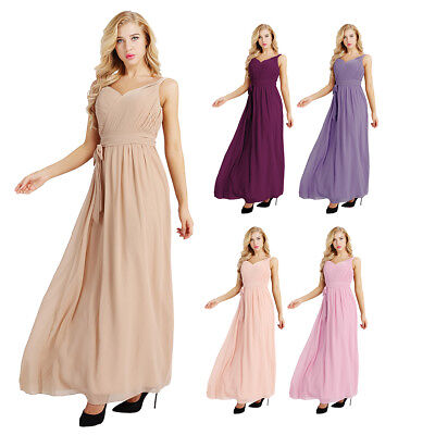 Women lady Long Chiffon Formal Evening Party Cocktail Bridesmaid Dress Ball Gown