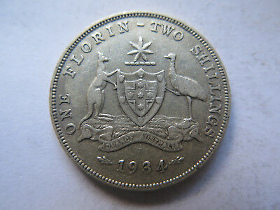 AUSTRALIAN 1934 SILVER FLORIN TWO SHILLINGS King George V VERY NICE CONDITION