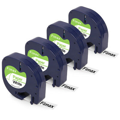 4PK Compatible DYMO Letratag 91330 S0721510 Black on White 12mm Paper Label Tape