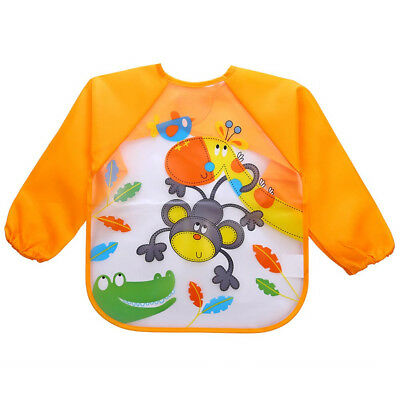 Baby Bibs Kids Waterproof Feeding Bibs Boy Girls Long Sleeve Cartoon Bibs 2018
