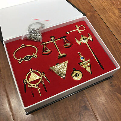 Yu-Gi-Oh! Millennium Puzzle Necklace Pendant Keychain Metal 8pcs Set + Box Gift