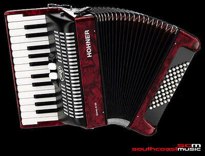 Piano Accordion Hohner Bravo Ii 48 Bass Stunning Red Pearl Finish With Case New